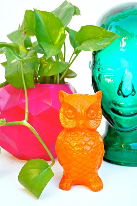 Mid Century Orange Owl Figurine Vintage Modern Porcelain Color Pop Decor Made