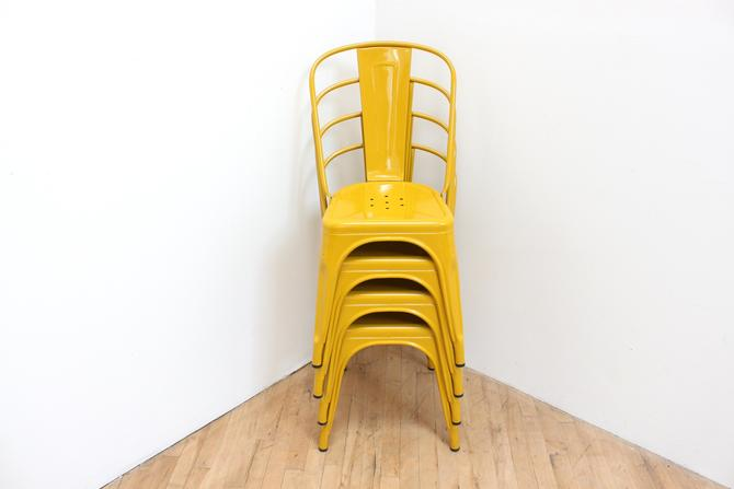 Original Stacking Tolix Chairs - 4 Signed Made in France Authentic Yellow Enamel Steel by 330ModernAntique