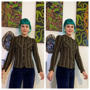 Vintage 1930's Green Wool Stripe Jacket by SurrealistVintage