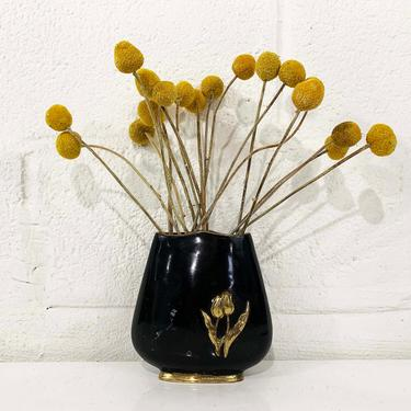 True Vintage Painted Brass Vase Gold Black Floral Flower Flowers Planter Red Gold White Retro Kitsch Boho MCM Hollywood Regency by CheckEngineVintage