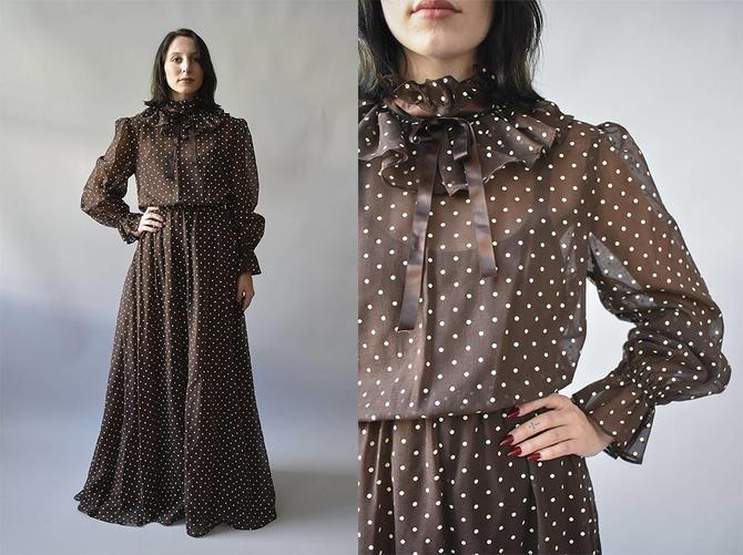 949d4158866 Vintage Prairie Dress   Polka Dot Maxi Dress   1970s Gown   Brown ...