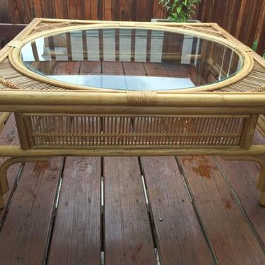 Vintage Rattan/Bamboo Coffee Table