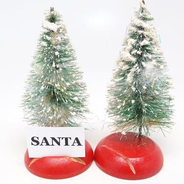 2 Vintage 1950's Sisal Bottle Brush Christmas Tree Place Card Holders, Retro Decor by exploremag