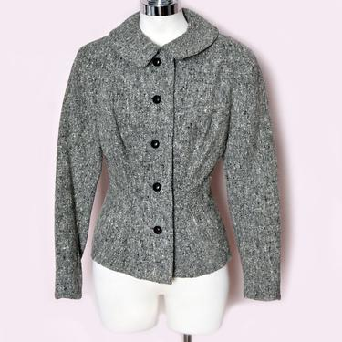 50's Gray Wool Jacket, Suit, Blazer, Vintage Mid Century, Speckled Black, 1940's, Size medium, Womens Short Coat, Grey Wool by Boutique369