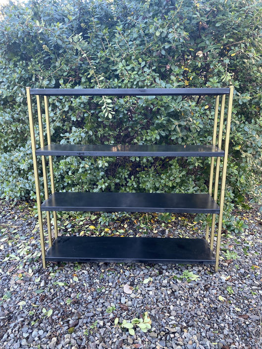 Mid Century Metal Industrial Plant Stand and Book Shelf by DesertCactusVintage