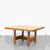 Square Rainer Daumiller (attr) Pine Table for Hirtshals Savvaerk