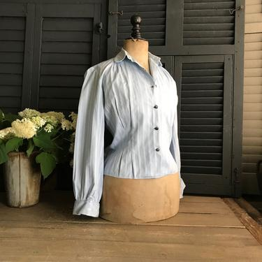 French Blue Cotton Blouse Shirt, Fitted, Retro Sportswear, Womens 1950s Casual Wear by JansVintageStuff