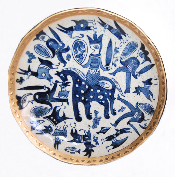Modernist Traditional Chinese Ceramics Medieval Charger Vintage Gilded Delft Heraldic Faience Serving Tray by Curiopolis
