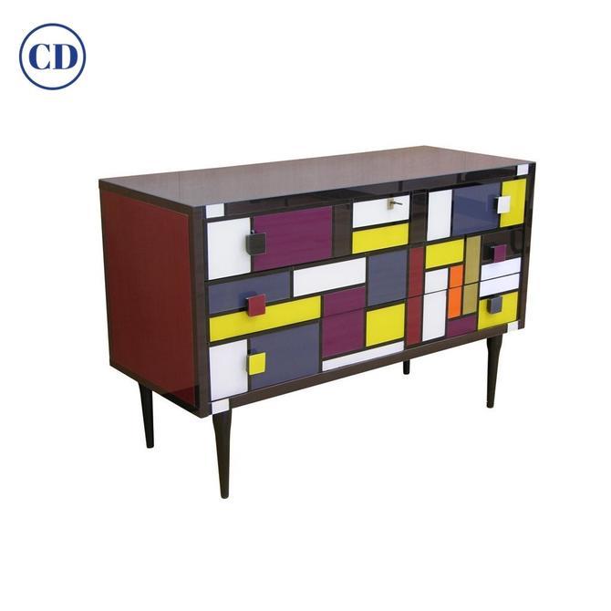 Bespoke Italian Mondrian Style Geometrical Colored Glass Chest Of Drawers