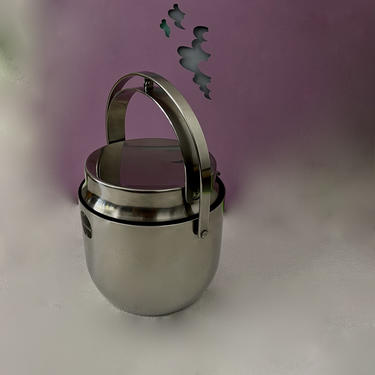 Vintage Stainless Steel Ice Bucket With an Ingenious Mechanical Lid By Carlo Mazzeri for Alessi Italy 1971 by modern2120