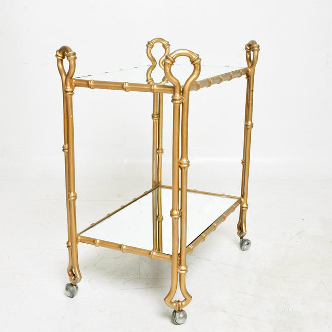 Arturo Pani Gilded Faux Bamboo Service Bar Cart Mexican Modern Regency 1950s by AMBIANIC