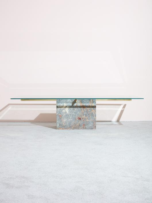 1970s Marble and Brass Coffee Table
