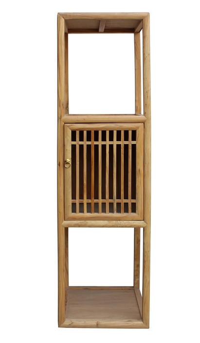 Chinese Raw Wood Slim Narrow Tall Open Display Storage Corner Cabinet cs2250E by GoldenLotusAntiques