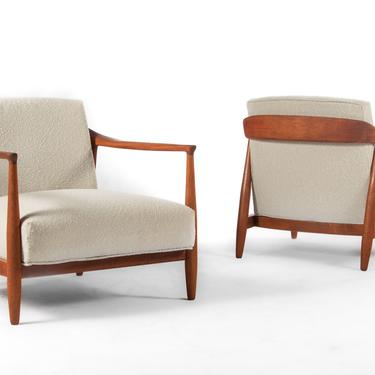 Set of Two ( 2 ) Mid Century Modern Lounge Chairs in Walnut and New Upholstery by ABTModern