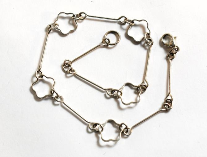 70's minimalist 925 silver flower chain hippie ankle bracelet, dainty sterling wire clover & bars flower child anklet by BetseysBeauties