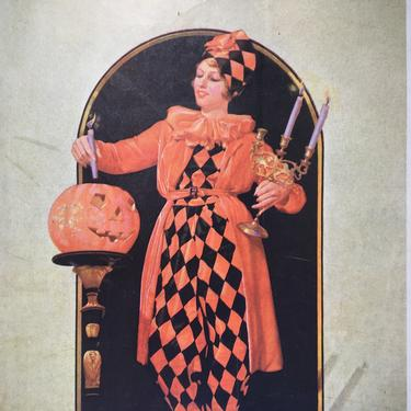 30's Halloween Magazine Cover, Holland The Magazine Of The South, October 31, 1931, Art Deco Lady With JOL In Festive Costume by luckduck
