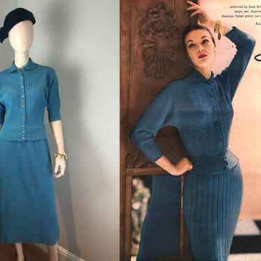 Zephyr Blues - Vintage 1950s Jane Irwill Cerulean Blue Wool Knit Sweater Skirt Set - M by RoadsLessTravelled2