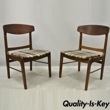 Vintage Mid Century Walnut Oak Sculptural Curved Back Dining Chairs - a Pair