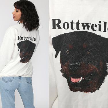 Rottweiler Cardigan Sweatshirt Dog Breed Shirt 80s Graphic Animal Sweatshirt Off-White  90s Vintage Button Up Novelty Pocket Small Medium by ShopExile