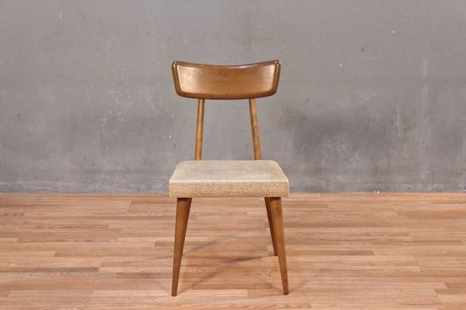 Mid Century Boxy Maple & Vinyl Side Chair