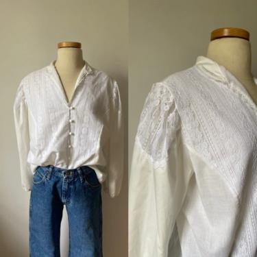80s Lace Puff Sleeve Blouse by DiscoLaundryVintage