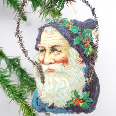 Antique Early 1900's Victorian Die Cut and Tinsel Blue Belsnickel Santa Scrap Ornament, Vintage Tree Decor by exploremag