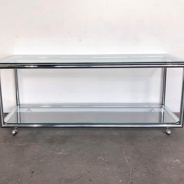 Vintage 1970s Chrome and Glass Console / Media Table by IridiumInteriors