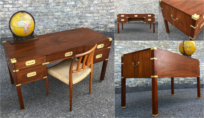 Vintage Walnut Campaign Writing Desk