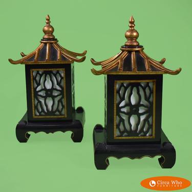 Pair of Pagoda Fretwork Table Lamps