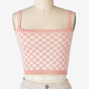 Retro Blush Checkered Knit Cropped Top