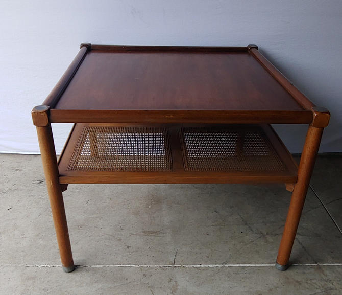 Mid Century Modern Wood and Cane Side End Table by ModandOzzie