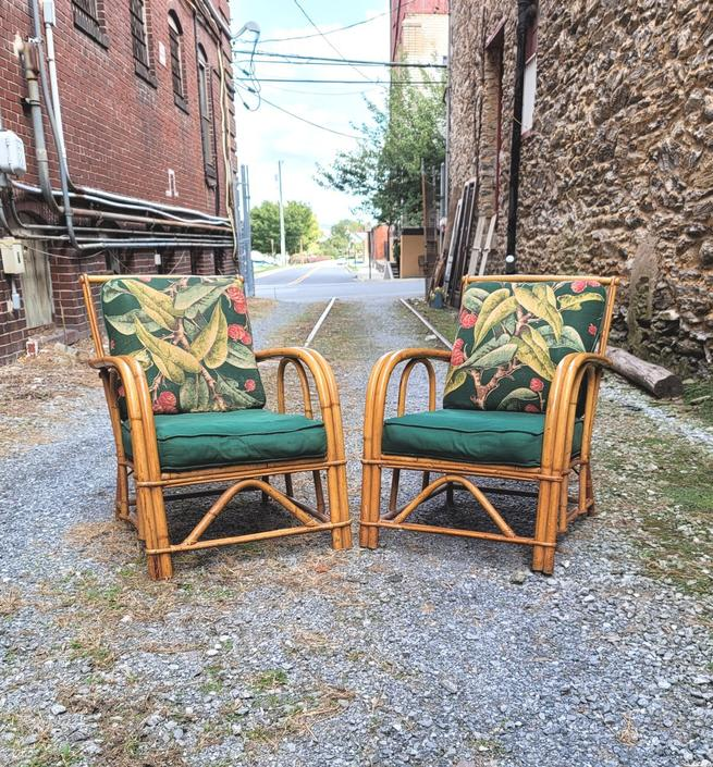 Boho Pair of Rattan Lounge Chairs