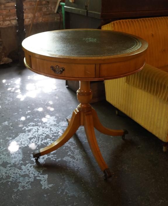 Leather Top Blonde Pedestal Table w Drawer