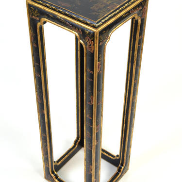 Vintage Chinese Black Lacquer Raised Chinoiserie Decoration Pedestal Sculpture Stand by PrairielandArt