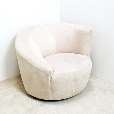 Postmodern Swivel Chair Vladamir Kagan 80s 90s Organic Modern Off White Blush Dove Gray by 330Modern