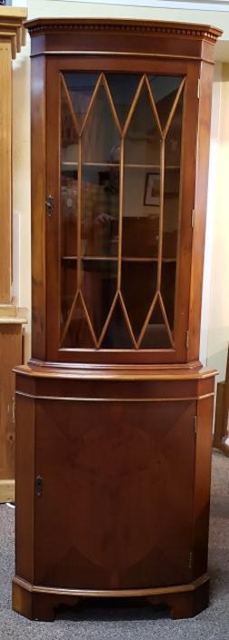 Item #Q110 Vintage Walnut Corner Display Cabinet c.1950s