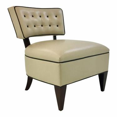 Leather Craft Co. Modern Armless Beige Leather Slipper Chair