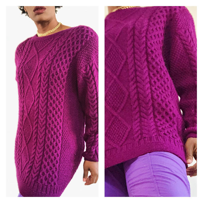Vintage 1980s 1990s 90s Cable Hand Knit Sweater Wool Chunky Crew Neck Purple Plink Magenta Argyle Long Oversized Top Medium M by KeepersVintage