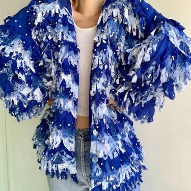 Patricia Hermann Blue Fringed Beaded  Jacket by VintageRosemond