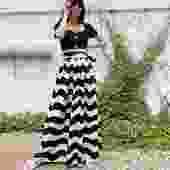 YVES SAINT LAURENT 80s Black + White Wave Stripe Cotton Maxi Skirt