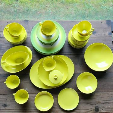 Vintage Mid Century Avocado Green Melmac Style Melamine Dish Set of 54 Pieces! Serving Platter, Creamer/Sugar, Cups & Saucers, Dinner Plates by BellsAndWhistlesEtc