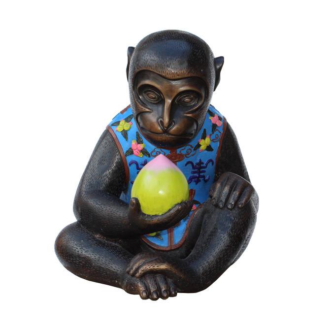 Handmade Brown Bronze Metal Ape Monkey with Peach Figure cs5314E by GoldenLotusAntiques
