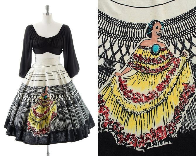 Vintage 1950s Circle Skirt   50s Mexican Lady Dancer Novelty Print Cotton Trompe L'Oeil Tourist Souvenir Skirt (medium) by BirthdayLifeVintage