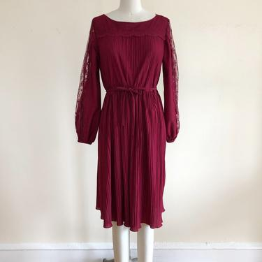 Burgundy Micro-Pleated Midi-Dress with Lace Inset Sleeves - 1980s by LogansClothing