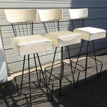 Three Vintage Frederick Weinberg Mid Century White Swivel BAR STOOLS 1950's by VintageLAfurniture