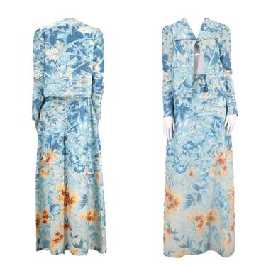 70s JEAN VARON print dress set L / vintage 1970s England botanical print 2 pc outfit jacket maxi skirt size uk 12 US 10 by ritualvintage