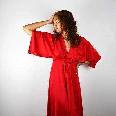 Vintage 70s 80s Disco Dress / 1970s Vintage Cherry Red Dress / Vintage 1980s Disco Dress / Vintage Holiday Dress / Small Medium / NYE by ErraticStaticVintage