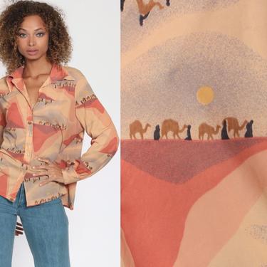 Desert Camel Shirt 70s Hippie Boho Blush Tone Sahara Novelty Print Blouse Disco 1970s Long Sleeve Vintage Button Up Egyptian Extra Large XL by ShopExile