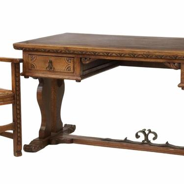 Antique Desk and ArmChair, French Provincial Carved Oak, Parquetry Top