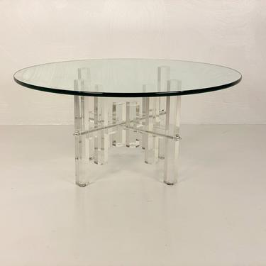 Vintage Round Lucite and Glass Coffee Table - *Please ask for a shipping quote before you buy. by CoolCatVintagePA